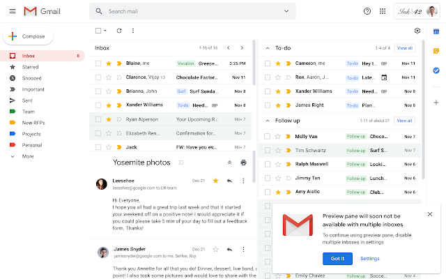 Gmail updated inbox view
